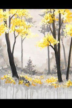 Painting Inspiration, cool watercolor painting, yellow tree leaves and flowers.