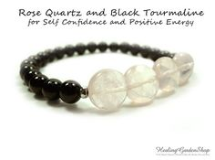 **Use promo code TRES10 for a 10% discount! :)** Rose Quartz and Black Tourmaline // Bridesmaids Gift // Self Confidence // Self Love // Energy Bracelet // Healing Garden Shop