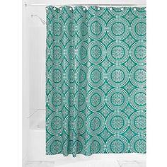 InterDesign Medallion Shower Curtain, 72 x 72-Inch, White-Deep Teal InterDesign http://www.amazon.com/dp/B00R2SHZ06/ref=cm_sw_r_pi_dp_qmauvb0WG4MVP