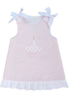 Birthday Light Pink Dress with Cupcake Applique and monogramming Baby Girl Birthday Dress, 1st Birthday Dresses, Birthday Ideas, Pink Dress, Cupcake, Party Ideas, Tops, Women, Fashion
