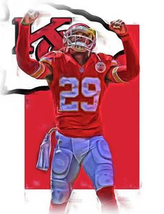 Eric Berry Print featuring the mixed media Eric Berry Kansas City Chiefs Oil Art by Joe Hamilton