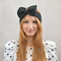 Bow Headband, Fashion Accessory, Knitted Bow Ear Warmer, Stocking Stuffer, Workout Headband, Bow Elastic Headbands