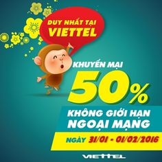 Viettel khuyến mãi 50% nạp thẻ ngày 31/1, 1/2/2016