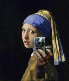Don't Hate the Selfie: Girl with a Pearl Earring and a Silver Camera. Digital mashup after Johannes Vermeer, attributed to Mitchell Grafton. c.2012.