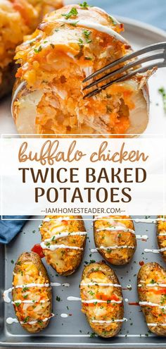 Buffalo Chicken Twice Baked Potatoes is a new favorite! A perfectly cooked potato is stuffed with a saucy buffalo chicke Side Dishes For Chicken, Best Side Dishes, Side Dish Recipes, Easy Dinner Recipes, Breakfast Recipes, Baked Potato Recipes, Chicken Recipes, Chicken Dips, Baked Chicken