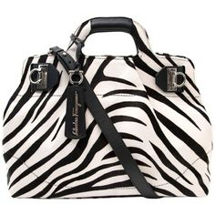 """Preowned Salvatore Ferragamo """"w"""" Bag Zebra Pony Hair ($1,039) ❤ liked on Polyvore featuring accessories, hair accessories, multiple, top handle bags, zebra print hair accessories, zebra hair accessories and salvatore ferragamo"""