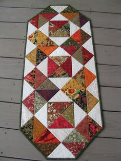Fall Colors Patchwork Quilted Table Runner by Flyingthreads, $45.00