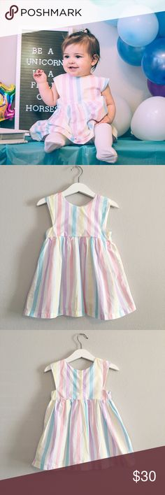 ⭐️NEW⭐️ Pastel Rainbow Dress for Baby Cute dress for baby's birthday party or photo shoot! 95% cotton. 5% polyester.  Length is 18 inches. Waist is approximately 20 inches.  **Please do not use my photos without permission** Dresses
