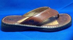Womens Born Sandals 6 Thong Distressed Leather Brown