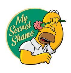 Homer - My Secret Shame, The Simpsons Simpsons Art, Aesthetic Desktop Wallpaper, Tumblr Stickers, Comic Art, Mickey Mouse, Hilarious, Cartoon, Disney Characters, Poster