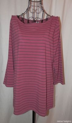NEW J. JILL TOP L Large Burgundy Pink Striped 3/4 Sleeve Boatneck NWT #JJill #KnitTop #Casual