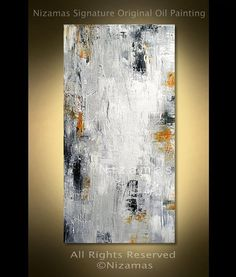 ABSTRACT PAINTING on canvas White painting with yellow black Original Canvas Art by Nizamas