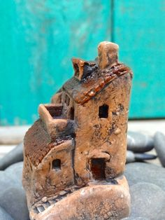 Miniature Italian village -group of Medieval houses with balcony and stairs- OOAK ceramic mini handmade sculpture