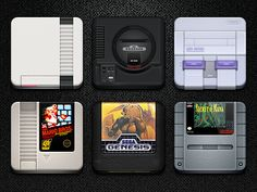 classic consoles and games as icons