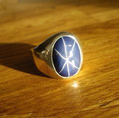 Mens Custom Heavy Oval Blue Star Sapphire Ring. $325,00, via Etsy.