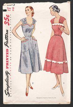 c866bb738f4a6e 1950s Rockabilly Dress Pattern · Vintage Sun Dress Sewing Pattern ·  Simplicity 3875 · Plus Size 18 · Mostly Uncut