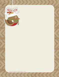 Background in shades of brown with a festive bird Free Christmas Printables, Free Printables, Free Christmas Borders, Border Templates, Stationery, Clip Art, Bird, Mittens, Festive
