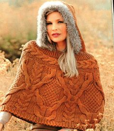 MADE TO ORDER, Knitted warm poncho with a hood, custom made
