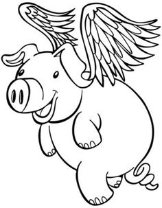 Flying Pig Coloring Pages Free Printable
