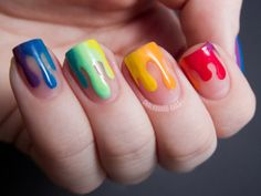 drip nail art rainbow colors