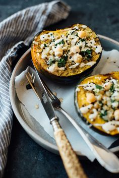 stuffed za'atar roasted acorn squash with pepper-lemon tahini sauce