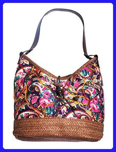 Mike  amp  Mary Women s Floral Printed Multicolor Shoulder Tote Handbag and  Handmade Straw Bottom Hobos 8c1494c777559