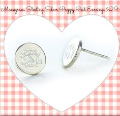 Perfect Preppy Post Earrings for Valentines Day $29  #threehipchicks #monogramearrings