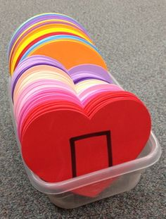 """Love this idea - make a class set """"beats"""" per kid) of foam manipulatives (eighths on one side, quarter on the other) great game idea for teaching steady beat or game for Feb. Kindergarten Music, Preschool Music, Music Activities, Music Games, Rhythm Games, Music Music, Music Lesson Plans, Music Lessons, Valentine Music"""