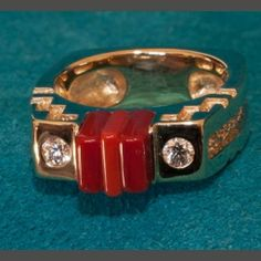 Native American James Little Sugalite and Coral 14k Gold Ring