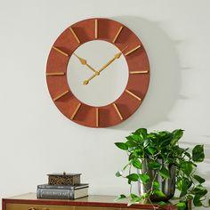 Wall Clock With Leather Strap, Mdf Wood, Wood Wall, Faux Leather Walls, Brown Leather, Wall Clock Hanging, Minimalist Wall Clocks, Antique Wall Clocks, Leather Furniture