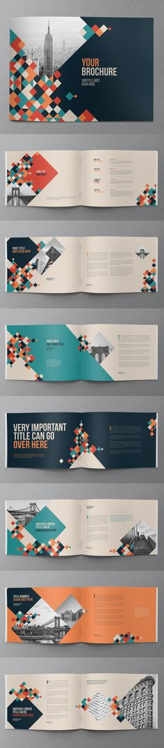 This brochure uses a 2 grid layout and large images. The text is aligned and justified which keeps the layout looking neat and legible. The layout uses wide gutters, large spacing between the headings and the text as well as having the headings in colour. Cover Design, Graphisches Design, Layout Design, Logo Design, Template Brochure, Design Brochure, Brochure Layout, Corporate Brochure, Cv Inspiration