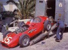 "itsawheelthing: "" watch the nose … the Maserati 250F of Juan Manuel Fangio being unloaded at the 1957 Monaco Grand Prix """