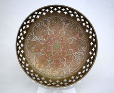 Vintage reticulated & enamelled brass shallow bowl - Made in India.