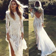 New Bohemian Retro Lace Long Sleeves Sexy Elegant Lawn Beach Travel Vacation Holiday Mermaid Light Wedding Dress Wz201793 Wedding Gowns 2015 Alternative Wedding Dresses From Leaderbridals, $166.84| Dhgate.Com