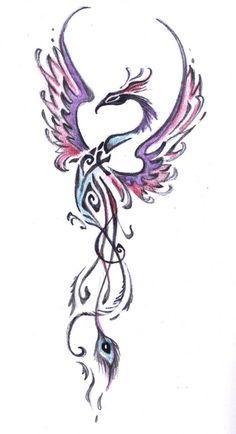 Simple Phoenix tattoo purple and blue