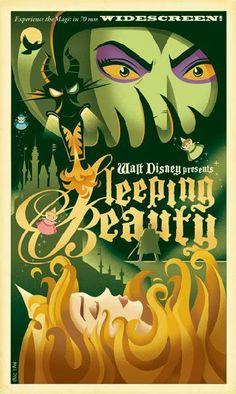 Sleeping Beauty - Retro Disney/Pixar Posters by Eric Tan Disney Pixar, Retro Disney, Art Disney, Disney Kunst, Disney Villains, Disney Animation, Disney Love, Disney Magic, Disney Films