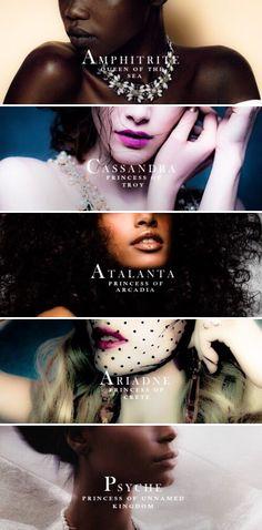 Queens and Princesses of Greek Mythology:  Amphitrite / Cassandra / Atalanta / Ariadne / Psyche
