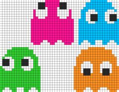 8Bit Pacman Ghosts Pt1 Perler Bead Pattern | Bead Sprites | Characters Fuse Bead Patterns