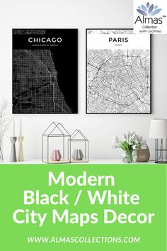 New Modern Black / White Worldwide City Maps Posters City Map Poster, Ramadan Gifts, Black And White City, Map Wall Decor, Islamic Gifts, Chicago Shopping, Uk Europe, Map Design, City Maps