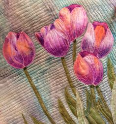 "Close up of"" Tulips"" art quilt. Hand painted fabrics. Happy Spring to each and everyone."