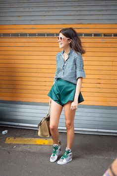 Bree Taylor: let's see that again...since it's been 100 degrees down here. Leandra, those Sally LaPointe shorts rock. NYC. #LeandraMedine #ManRepeller