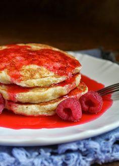 Christina's Cucina: Lemon Souffle Pancakes with Raspberry Syrup