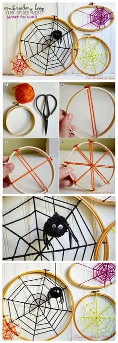 Embroidery Hoop Spider Webs | Halloween Decorations