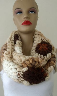 Bloemenmotief oneindig Sjaal, oneindigheid Sjaals, Knit oneindigheid Sjaals, Chunky Sjaal, Circle Sjaal, gebreide sjaal, cadeaus voor haar /// FORMALHOUSE