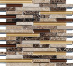 Linear Glass Stone Mosaic Tile Emperador is a combination of natural stone and glass tiles in a staggered pattern mesh mounted on a 12x12 interlocking fiberglass sheet for an easy installation. This mosaic tile is suitable for kitchen backsplash, bathroom, shower, water features, shower walls, and fireplace surrounds. This product is sold by the sheet and it is 8mm thick.