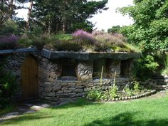 Stone home, living roof.