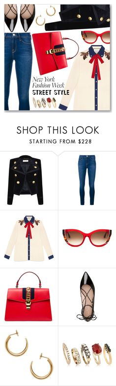 """NYFW Street Style: Day Two"" by dressedbyrose ❤ liked on Polyvore featuring Yves Saint Laurent, Frame Denim, Gucci, Thierry Lasry, Kate Spade, Maison Margiela, Iosselliani, StreetStyle and NYFW"
