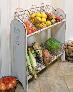Farmhouse Style Vegetable Stand | Redo It Yourself Inspirations. Kitchen storage farm style! Repurposed blanket stand into fruit and vegetable stand.