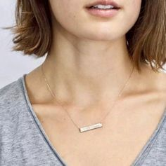 Womens Necklace - 14k Gold Personalized Name Necklace – 1 Øak Silver Bar Necklace, Sterling Silver Jewelry, Gold Necklaces, Engraved Necklace, Personalized Necklace, Diy Necklace, Silver Ring, 14k Gold Chain, 18k Gold