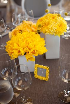 I love the idea of using the same flower in one vase, yet have multiple vases with a different flower